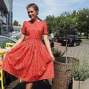 Одежда ручной работы. Ярмарка Мастеров - ручная работа Платье из хлопка Красное. Handmade.
