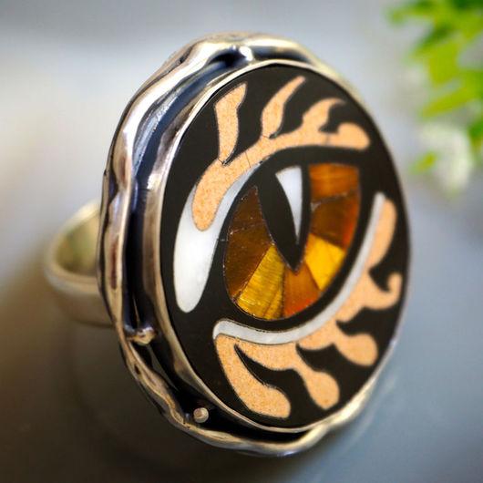 """Кольца ручной работы. Ярмарка Мастеров - ручная работа. Купить Кольцо """"Глаз"""" - флорентийская мозаика, серебро. Handmade. уникальное украшение"""