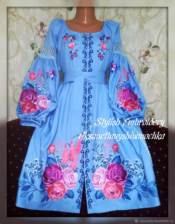 Dress embroidered 'Roses' Boho, Dresses, Zaporozhye,  Фото №1