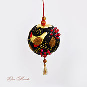Для дома и интерьера handmade. Livemaster - original item Balloon interior collectible Khokhloma made of genuine leather on the Christmas tree. Handmade.