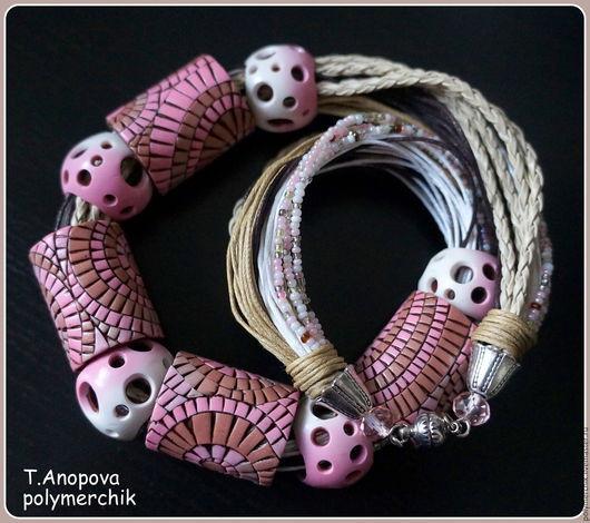 """Колье, бусы ручной работы. Ярмарка Мастеров - ручная работа. Купить Колье """"Сны о Гауди"""". Handmade. Розовый, полимерная глина"""