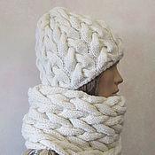Аксессуары handmade. Livemaster - original item Set-cap and Snood, half-fur, in ecru color.. Handmade.