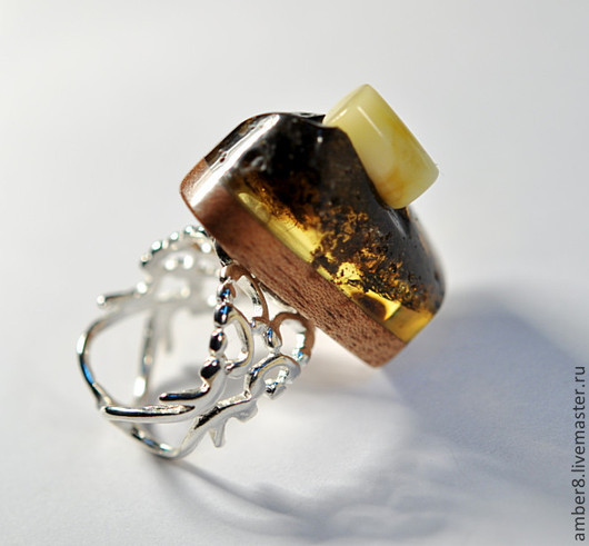 """Кольца ручной работы. Ярмарка Мастеров - ручная работа. Купить Янтарь. Кольцо """"Бревнышко"""".. Handmade. Янтарь, посеребрение"""