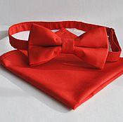 Аксессуары handmade. Livemaster - original item Plain red tie Classic red pocket square. Handmade.