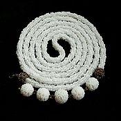 Украшения handmade. Livemaster - original item Lariat beaded white