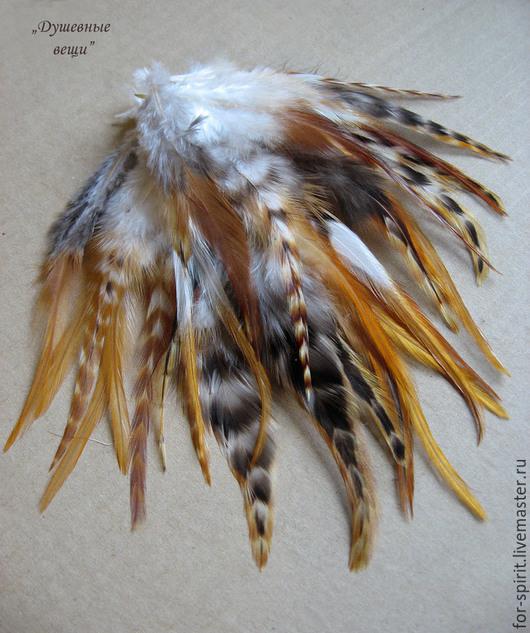 Другие виды рукоделия ручной работы. Ярмарка Мастеров - ручная работа. Купить (10 шт) Рыжие перья петуха гризли. Handmade.