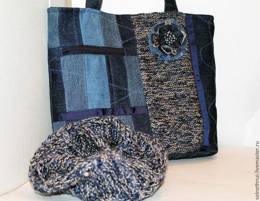 джинсовая сумка, джинсовая брошь, шарф-снуд, шарф труба, большая сумка, повседневная сумка, вместительная сумка