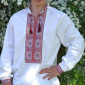 Одежда ручной работы. Ярмарка Мастеров - ручная работа Вышиванка мужская Волны. Handmade.