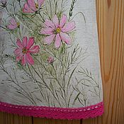 Работы для детей, handmade. Livemaster - original item Children`s linen dress with painted..... Kosmeya.. Handmade.