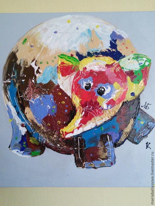 Животные ручной работы. Ярмарка Мастеров - ручная работа. Купить Слонишка. Handmade. Разноцветный, слоник, картина на холсте, картина в детскую