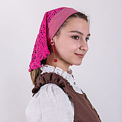 Русский стиль handmade. Livemaster - original item The headdress is made in Russian style/knitted scarf. Handmade.