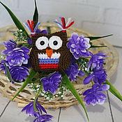 handmade. Livemaster - original item Keychain, pendant, knitted toy Owl. Handmade.