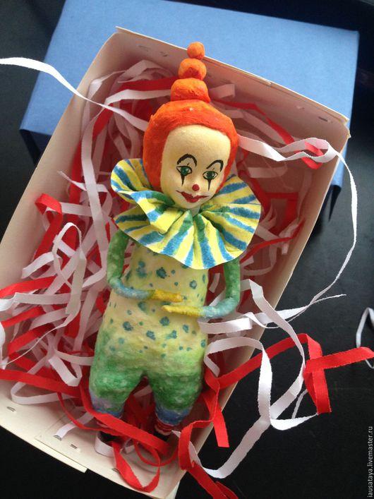 """Коллекционные куклы ручной работы. Ярмарка Мастеров - ручная работа. Купить Новогодняя игрушка """"Клоун"""". Handmade. Мятный, годубой, оранжевый"""