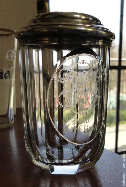 Винтажная посуда. Ярмарка Мастеров - ручная работа. Купить Старинный стакан с вензелем. Фацеты Глубокая резка. Handmade. Винтаж, белый