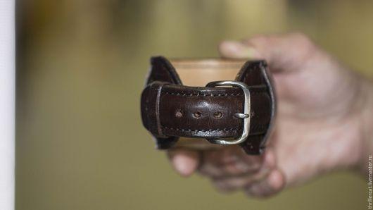 Браслеты ручной работы. Ярмарка Мастеров - ручная работа. Купить Ремешок для часов из натуральной кожи коричневый широкий темная нить. Handmade.