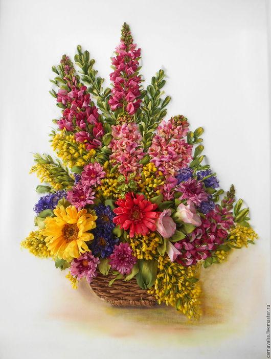 Картины цветов ручной работы. Ярмарка Мастеров - ручная работа. Купить Букет цветов с мимозой.. Handmade. Комбинированный, картина для дома