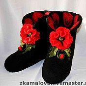 """Обувь ручной работы. Ярмарка Мастеров - ручная работа Валенки домашние """"Красный мак"""". Handmade."""
