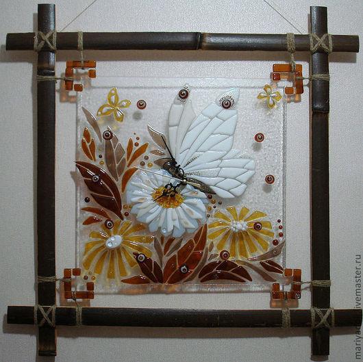 "Часы для дома ручной работы. Ярмарка Мастеров - ручная работа. Купить Часы ""Бабочка"". Handmade. Часы, Янтарный, часы стеклянные"
