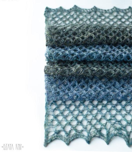 Шарфы и шарфики ручной работы. Ярмарка Мастеров - ручная работа. Купить Шарф ажурный шерстяной (сине-серый). Handmade.