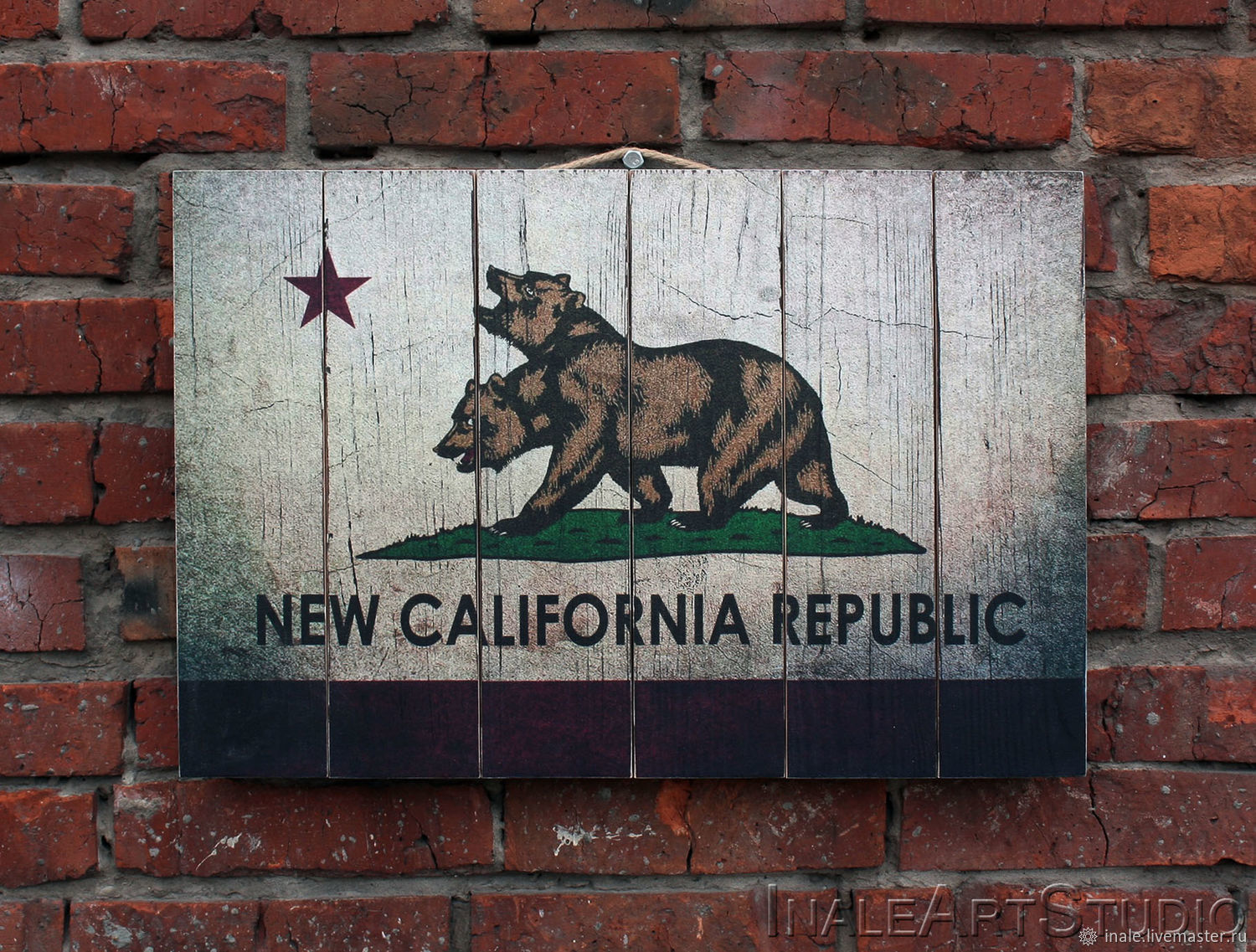 Fallout NCR Flag Picture on wood Wood wall hanging, Pictures, Tomsk,  Фото №1