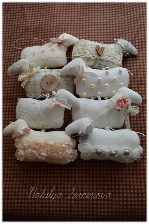 Игрушки животные, ручной работы. Ярмарка Мастеров - ручная работа. Купить Овечки винтажные, шебби-шик, талисман года, символ года. Handmade.