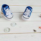 Пинетки ручной работы. Ярмарка Мастеров - ручная работа Пинетки кеды мальчику купить на выписку подарок на заказ роддом синий. Handmade.