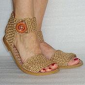 Обувь ручной работы. Ярмарка Мастеров - ручная работа Сандалии  вязаные, бохо, беж, хлопок. Handmade.