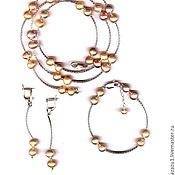 Украшения handmade. Livemaster - original item Jewelry sets pearl pink. Handmade.