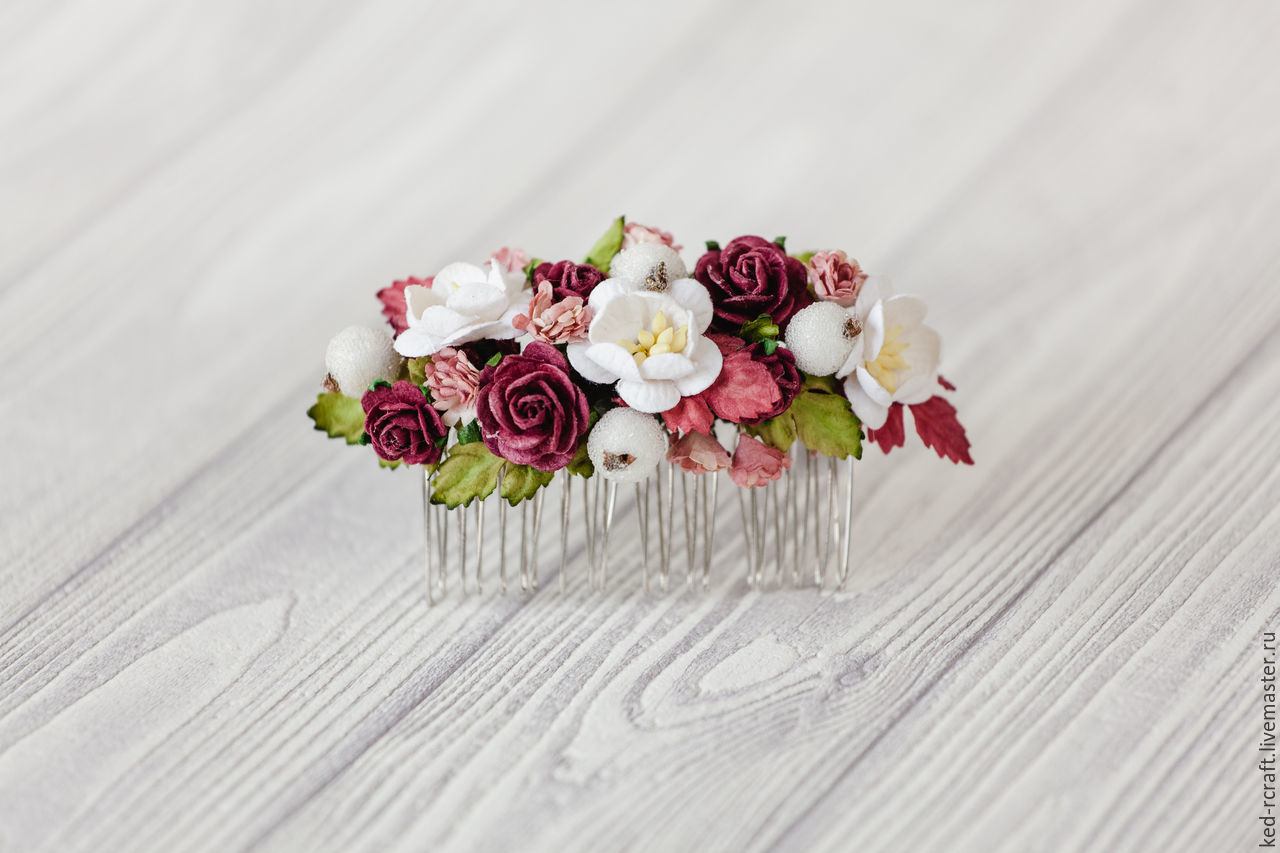 the crest of the 'evening of roses' wedding burgundy flower, Hair Decoration, Kursk,  Фото №1