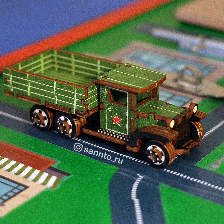Сборная деревянная модель грузовик ЗИС-5В, Техника роботы транспорт, Москва,  Фото №1