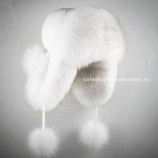 Женская шапка ушанка из меха песца (вуаль) Женская ушанка