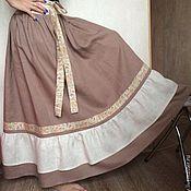 Одежда ручной работы. Ярмарка Мастеров - ручная работа Льняная юбка Латте. Handmade.
