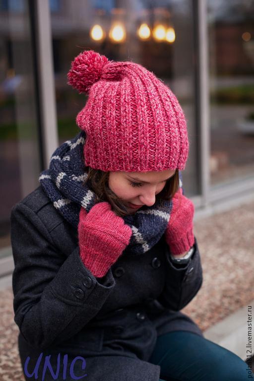 шапка, шапки, шапка вязаная, шапка женская, зимняя шапка, шапка с помпоном, розовая шапка,модные шапки, шапка в подарок, подарок для девушки, подарок на новый год, розовый, красный, фуксия, яркая шапка, яркий аксессуар
