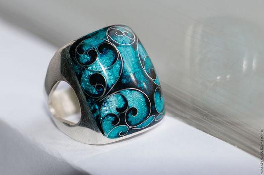 """Кольца ручной работы. Ярмарка Мастеров - ручная работа. Купить Кольцо """"Бирюзовое"""" из серебра с эмалью. Минанкари. Handmade. Тёмно-бирюзовый"""