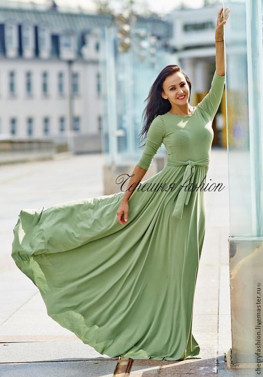 """Платья ручной работы. Ярмарка Мастеров - ручная работа. Купить платье в """"Олива"""". Handmade. Оливковый, платья больших размеров"""