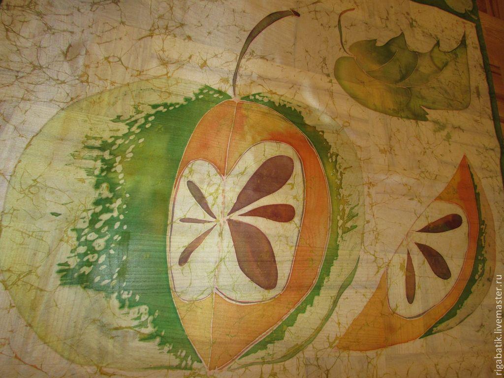 Batik scarf 'Ah, Apple!' 90 x 90 cm, Shawls1, Riga,  Фото №1