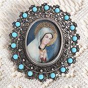 Винтаж handmade. Livemaster - original item Brooch pendant virgin Mary painting silver 800. Handmade.