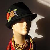 """Аксессуары ручной работы. Ярмарка Мастеров - ручная работа """"Твиги"""" черная фетровая шляпа с вышивкой. Handmade."""