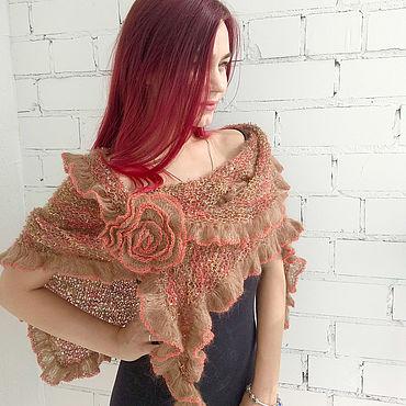 Accessories handmade. Livemaster - original item Sienna kid mohair shawl and rose brooch. Handmade.
