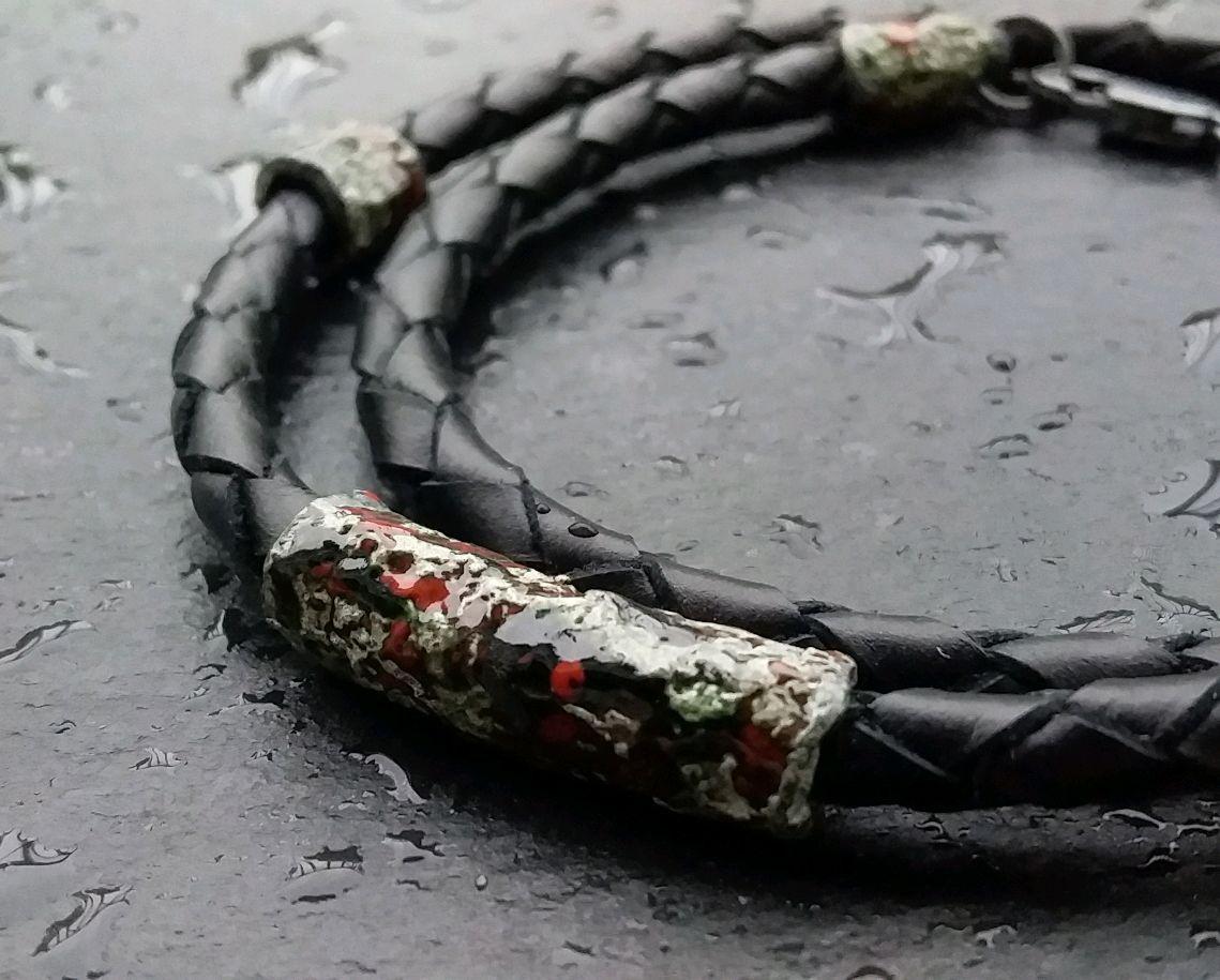 Серебряный браслет на кожаном шнурке с горячей эмалью, Браслет-шнурок, Санкт-Петербург,  Фото №1