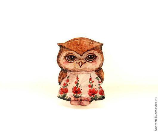 """Броши ручной работы. Ярмарка Мастеров - ручная работа. Купить Брошь """"Совушка в платьице"""" (0035). Handmade. Ярко-красный, брошка"""