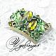Для украшений ручной работы. Ярмарка Мастеров - ручная работа. Купить Коннектор с кристаллами «Зеленый букет» №71. Handmade. Цветок