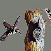 Для дома и интерьера ручной работы. Ярмарка Мастеров - ручная работа Интерьерное подвесное украшение из цветного стекла птица Дятел. Handmade.