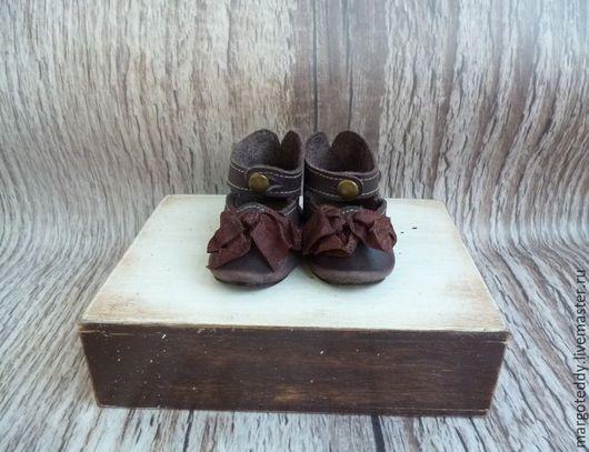 Одежда для кукол ручной работы. Ярмарка Мастеров - ручная работа. Купить Туфли антик.кукле на 7 см коричневые банты. Handmade.