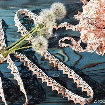 Материалы для творчества ручной работы. Ярмарка Мастеров - ручная работа 829L кружево льняное белое+оранжевое. Handmade.
