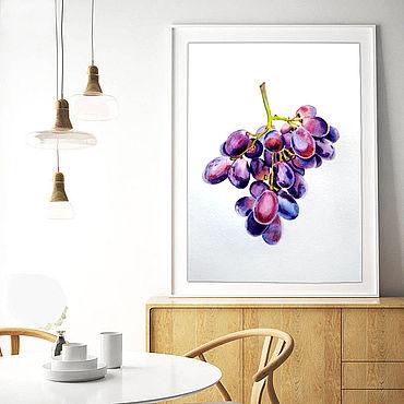 Картины и панно ручной работы. Ярмарка Мастеров - ручная работа Кисть винограда картина ботаничееская акварель. Handmade.