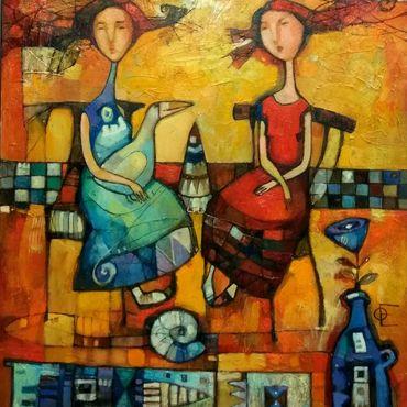 Картины и панно ручной работы. Ярмарка Мастеров - ручная работа Картина маслом в оранжево-желтых тонах девушки гусь цветок. Handmade.
