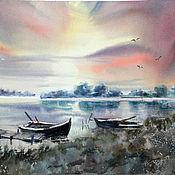 Картины и панно handmade. Livemaster - original item watercolor. landscape. Boats at sunset. Handmade.