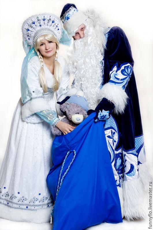 Карнавальные костюмы ручной работы. Ярмарка Мастеров - ручная работа. Купить VIP Карнавальные костюмы Деда Мороза и Снегурочки. Handmade.