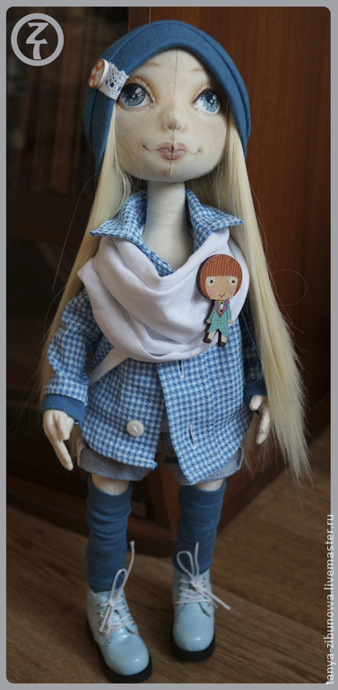 Коллекционные куклы ручной работы. Ярмарка Мастеров - ручная работа. Купить Текстильная кукла Адель. Handmade. Морская волна, сатин